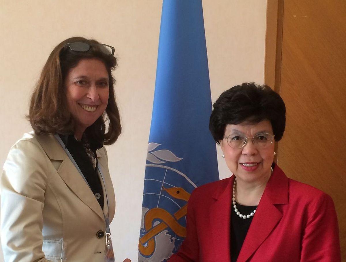 Gesundheitsministerin Lydia MUTSCH  mit der Generaldirektorin der WHO, Dr Margaret CHAN.