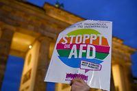 20.02.2020, Berlin: Teilnehmer gedenken der in Hanau getöteten Menschen bei einer Mahnwache am Brandenburger Tor und halten ein Anti-AfD-Schild hoch. Bei einem mutmaßlich rechtsradikalen und rassistischen Anschlag hat ein 43-jähriger Deutscher im hessischen Hanau mehrere Menschen und sich selbst erschossen. Foto: Sonja Wurtscheid/dpa +++ dpa-Bildfunk +++