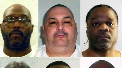 """(COMBO) This combination of pictures obtained from the Arkansas Department of Correction and created on March 17, 2017 shows death row inmates (L-R, top) Don William Davis, Stacey Eugene Johnson, Jack Harold Jones and Ledell Lee; (L-R, bottom) Jason F. McGehee, Bruce Earl Ward, Kenneth D. Williams and Marcel W. Williams.  The US state of Arkansas carried out its first execution in nearly a decade, the state's attorney general said, proceeding despite criticism that its controversial plan to execute several prisoners by the end of the month was rushed. Ledell Lee was put to death late on April 20, 2017,  after the US Supreme Court rejected eleventh-hour requests to stay the execution.  / AFP PHOTO / Arkansas Department of Correction / HO / RESTRICTED TO EDITORIAL USE - MANDATORY CREDIT """"AFP PHOTO / Arkansas Department of Correction"""" - NO MARKETING NO ADVERTISING CAMPAIGNS - DISTRIBUTED AS A SERVICE TO CLIENTS"""