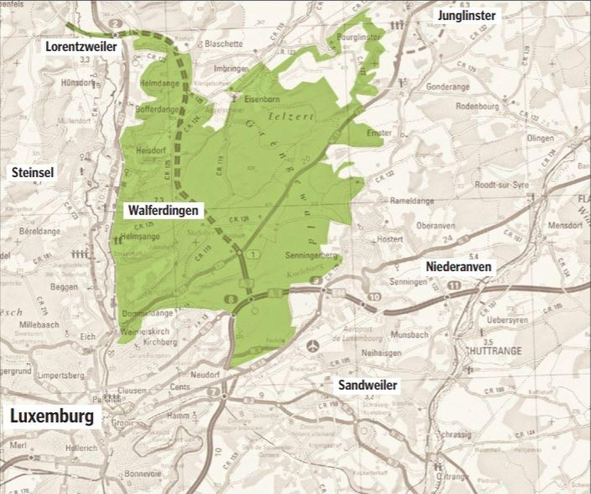 30 Ortschaften in insgesamt sieben Gemeinden liegen im künftigen Schutzgebiet- Gréngewald. Die Gemeinden, die am meisten davon betroffen sind und zusammen eine Fläche von rund 3000 Hektar ausmachen, sind Niederanven mit 42 Prozent des Gesamtterritoriums, Steinsel mit 27 Prozent und Junglinster mit elf Prozent. Die restlichen Gemeinden – Lorentzweiler, Walferdingen, Sandweiler und Luxemburg-Stadt – vereinen 740 Hektar der gesamten Zone auf sich.