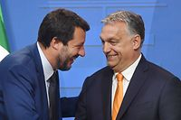 Italian Deputy Premier and Interior Minister Matteo Salvini (L) is welcomed by Hungarian Prime Minister Viktor Orban (R) in the Carmelite monastery of the prime minister's office in Budapest on May 2, 2019 during their press conference - Salvini is on a one-day official visit to Hungary. (Photo by ATTILA KISBENEDEK / AFP)
