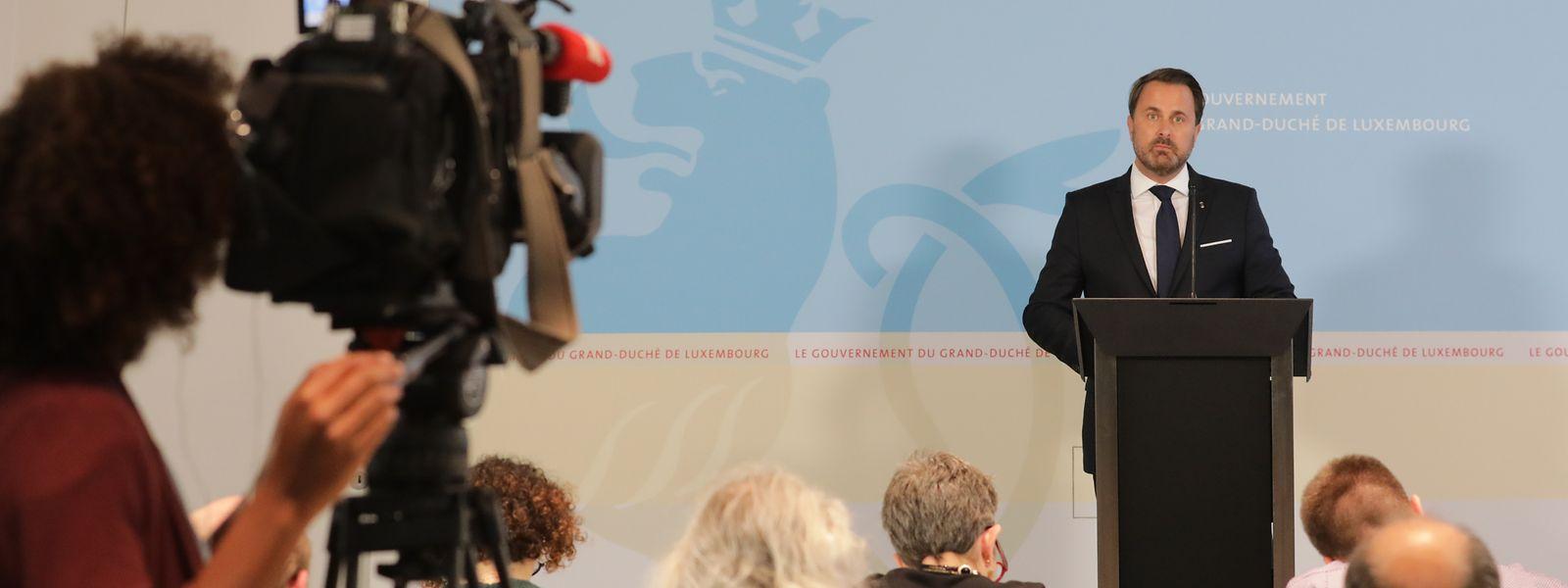 Premierminister Xavier Bettel informierte die Presse über die temporäre Umbildung der Regierung.