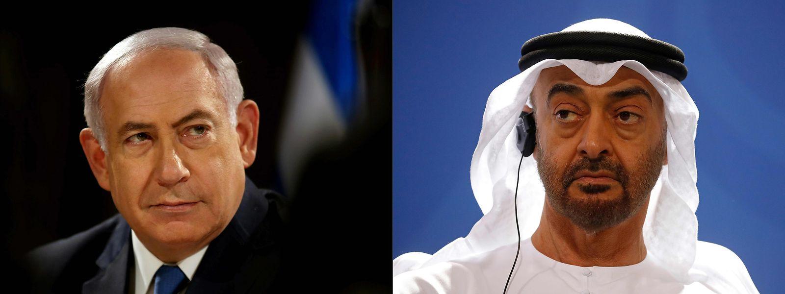 Israels Staatschef Benjamin Netanjahu und der Kronprinz von Abu Dhabi, Mohammed bin Said Al Nahjan.