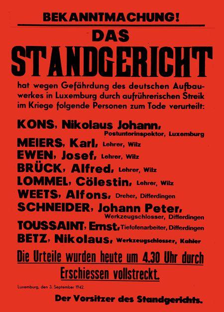 O cartaz que anuncia a execução de Toussaint foi espalhado pela Gestapo em todo o país