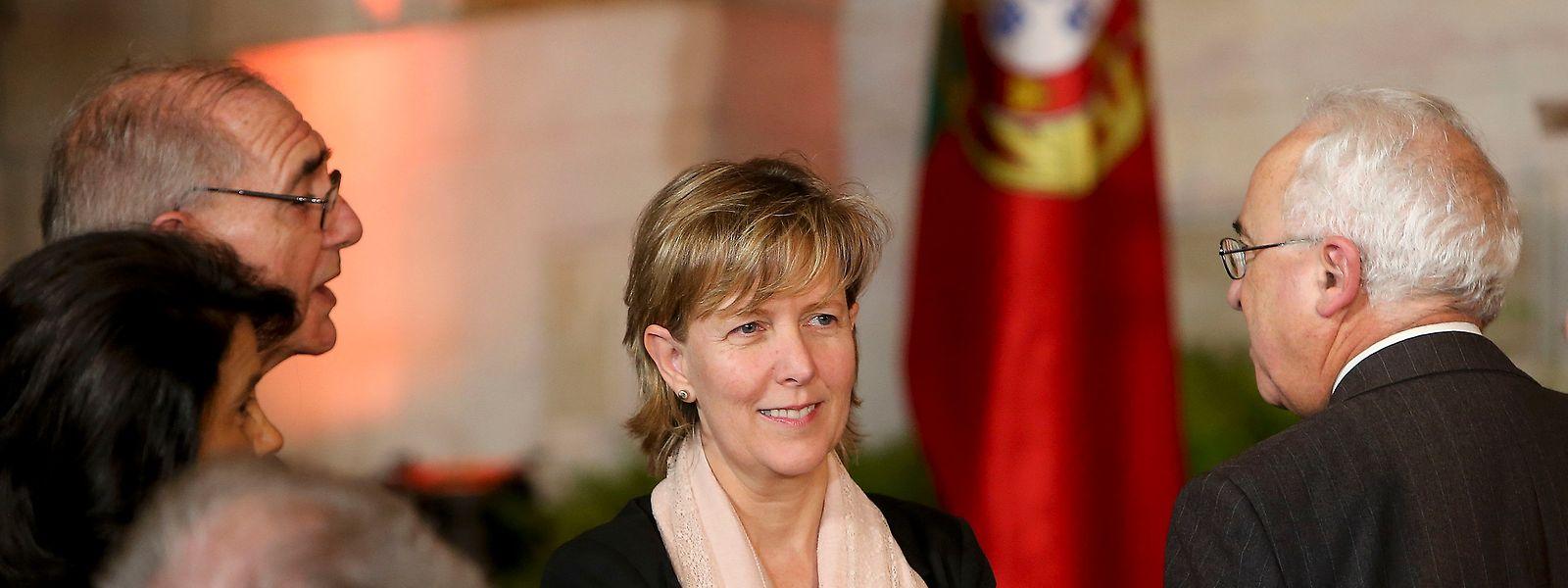 A ministra das Finanças demissionária, Maria Luís Albuquerque, à chegada para a cerimónia de tomada de posse do XXI Governo
