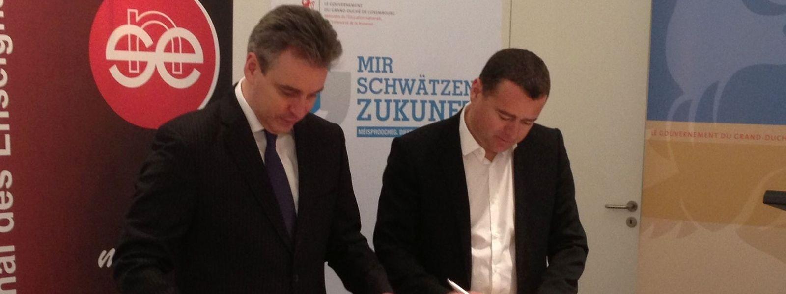 Bildungsminister Claude Meisch (l.) und SNE-Präsident Patrick Remakel haben sich auf ein Abkommen zur Entwicklung der Schulqualität im Fondamental geeinigt.