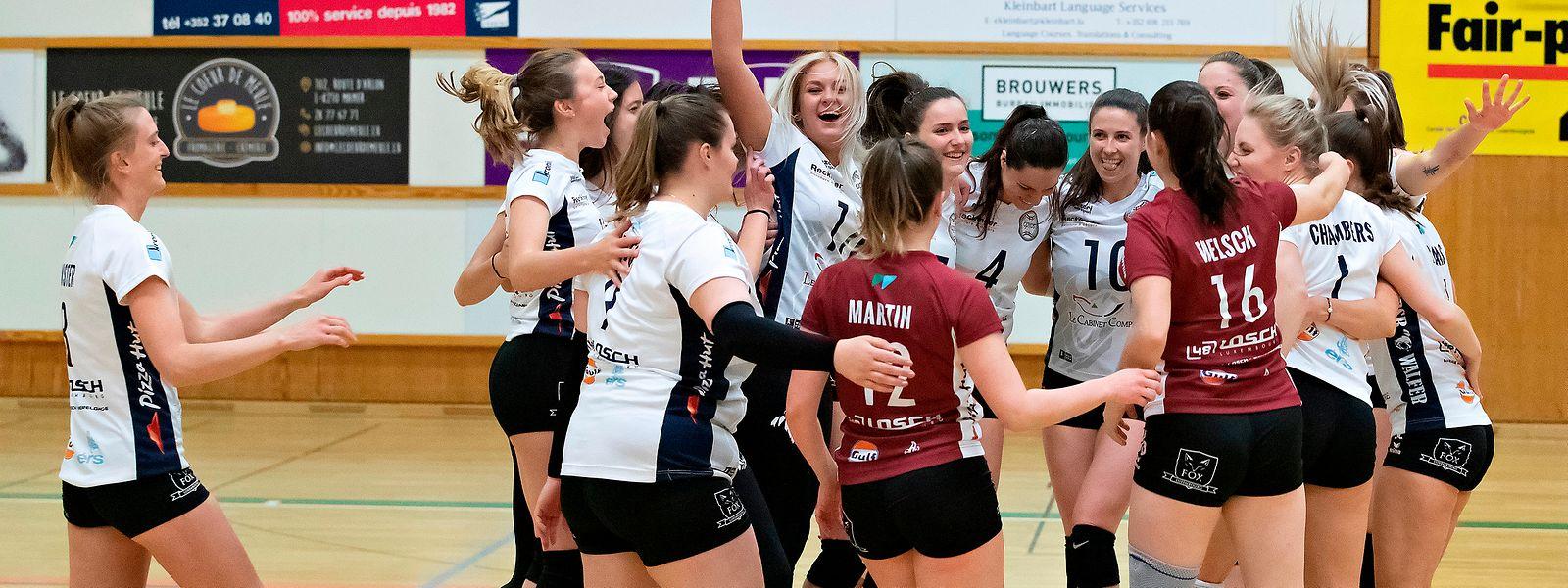 Die Emotionen müssen raus: Der erneute Titelgewinn der Volleyballfrauen aus Walferdingen ist unter Dach und Fach.