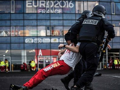 Policemen take part in a mock suicide attack exercise as part of security measures for the upcoming Euro 2016 football championship