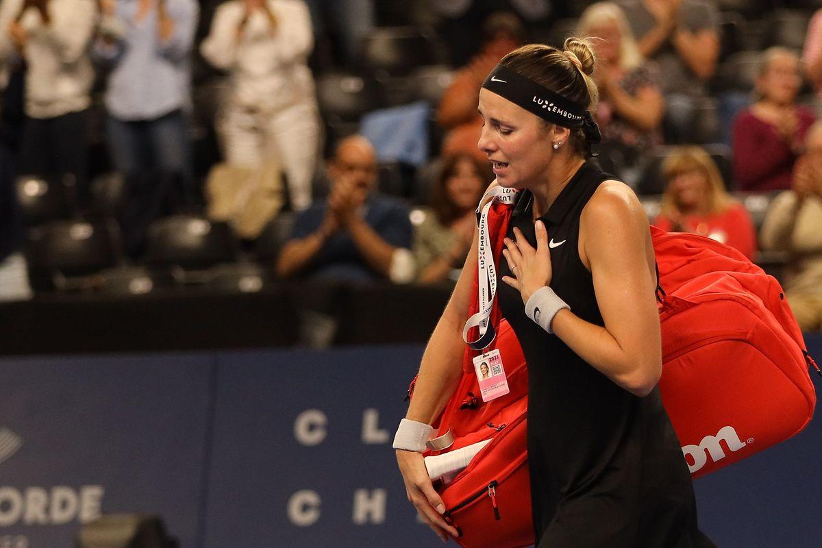 Mandy Minella kann ihre Emotionen nach der Niederlage nicht mehr kontrollieren.
