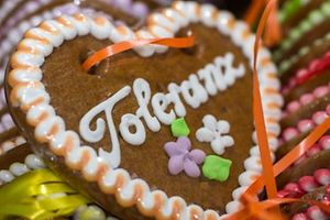 "Ginger bread hearts with the sugar icing inscription ""Tolerance"" are seen on September 15, 2015 in Munich, southern Germany. The hearts, that will be sold by the ""Bavariashop"" souvenir shop at the upcoming Munich Oktoberfest beer festival, are aimed to promote tolerance and solidarity for refugees. The benefit goes to the Caritas relief organisation to support refugee children actually living in the Bavarian capital. The world-famous Oktoberfest beer festival is taking place from September 19 to October 4, 2015.         AFP PHOTO / DPA / MATTHIAS BALK   +++   GERMANY OUT"