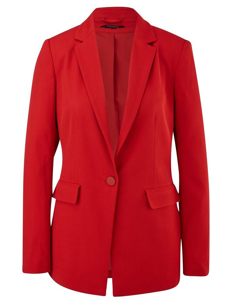 Rote Zahlen wollen wir auf unserem Bankkonto niemals sehen – besser gefällt uns da schon dieser Hingucker im gleichen Farbton: eleganter Damen-Blazer von Comma, um 140 Euro.