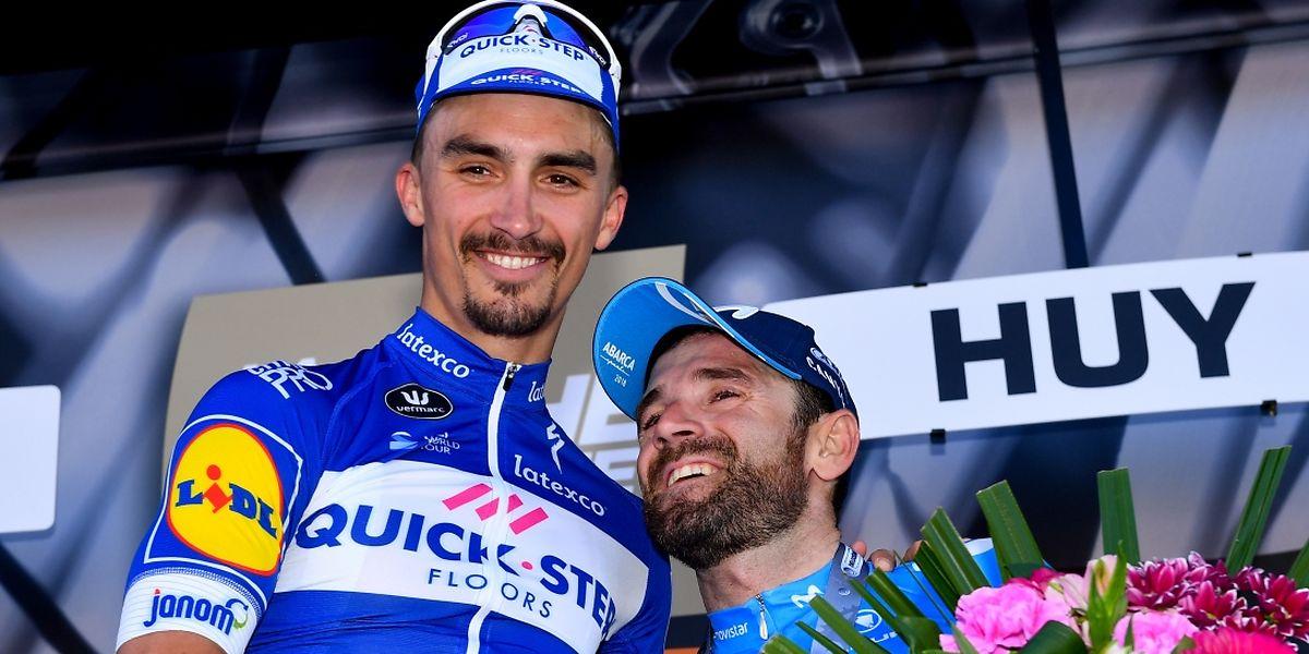 Deux fois deuxième, le Français Julian Alaphilippe a enfin pris le dessus sur Alejandro Valverde au sommet du mur de Huy.