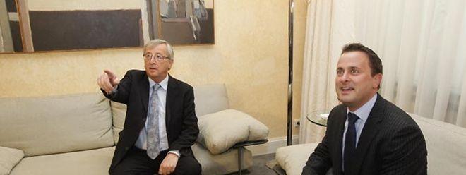 Formateur Bettel und Noch-Premier Juncker saßen eine Dreiviertelstunde im Hôtel de Bourgogne zusammen.