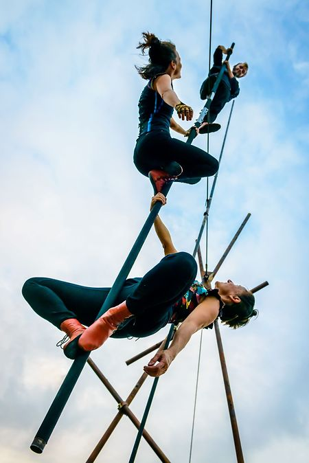 Acrobats will perform gravity-defying moves on suspended steel bars