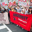 Counter protestors to a far-right rally march during the Unite the Right 2 Rally in Washington, DC, on August 12, 2018. - Last year's protests in Charlottesville, Virginia, that left one person dead and dozens injured, saw hundreds of neo-Nazi sympathizers, accompanied by rifle-carrying men, yelling white nationalist slogans and wielding flaming torches in scenes eerily reminiscent of racist rallies held in America's South before the Civil Rights movement. (Photo by ZACH GIBSON / AFP)