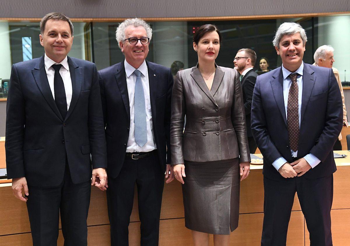 Slovakia's Peter Kazimir, Luxembourg's Pierre Gramegna, Latvia's Dana Reizniece-Ozola and Portugal Finance Minister Mario Centeno (AFP)