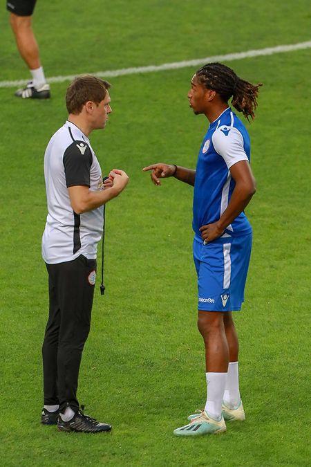 Luc Holtz et Gerson Rodrigues avant Portugal - Luxembourg.