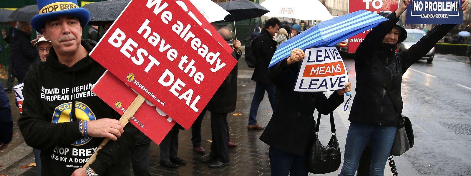 Diese Demonstranten vor dem britischen Unterhaus sind gegen den Brexit. Aber wer noch? Eine Übersicht.