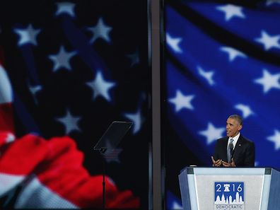 PHILADELPHIA, PA - JULY 27: US President Barack Obama delivers remarks on the third day of the Democratic National Convention at the Wells Fargo Center, July 27, 2016 in Philadelphia, Pennsylvania. Democratic presidential candidate Hillary Clinton received the number of votes needed to secure the party's nomination. An estimated 50,000 people are expected in Philadelphia, including hundreds of protesters and members of the media. The four-day Democratic National Convention kicked off July 25.   Alex Wong/Getty Images/AFP == FOR NEWSPAPERS, INTERNET, TELCOS & TELEVISION USE ONLY ==