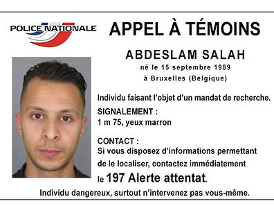 Handout picture shows Belgian-born Abdeslam Salah seen on a call for witnesses notice released by the French Police Nationale information services