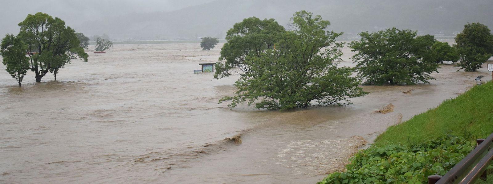 Der Fluss Kuma in der Präfektur Kumamoto trat über die Ufer.
