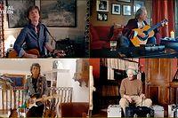 """HANDOUT - 18.04.2020, ---: Das am 19.04.2020 von der Hilfsbewegung Global Citizen zur Verfügung gestellte Standbild zeigt die Musiker Mick Jagger (oben, l), Keith Richards (oben, r), Ronnie Wood (unten, l) und Charlie Watts von der Band The Rolling Stones bei  ihrem Auftritt im Rahmen des virtuellen Konzerts «One World: Together at Home». Dutzende Künstler bedankten sich damit bei den vielen Helfern in der Corona-Pandemie. (zu dpa """"Corona-Konzert mit Megastars und Millionenspenden"""") Foto: Getty Images for Global Citizen/dpa - ACHTUNG: Das Foto darf nicht verändert und nur im vollen Ausschnitt verwendet werden. Keine Archivierung. Nur zur redaktionellen Verwendung im Zusammenhang mit der aktuellen Berichterstattung über das Global Citizen Konzert 2020 und nur mit vollständiger Nennung des vorstehenden Credits +++ dpa-Bildfunk +++"""