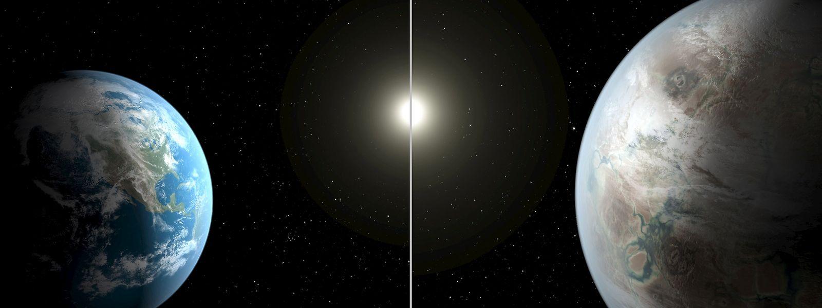 """Die Erde im  Größenvergleich zu ihrem """"Cousin"""" Kepler-452b. Der Planet ist 1400 Lichtjahre von unserem Sonnensystem entfernt."""