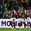 Metz' players celebrate during the French L1 football match between Metz (FCM) and Toulouse (TFC) on May 14, 2017 at Saint Symphorien Stadium in Longeville-Les-Metz, eastern France.  / AFP PHOTO / JEAN-CHRISTOPHE VERHAEGEN