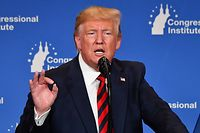 US President Donald Trump delivers remarks during the 2019 House Republican Conference Member Retreat Dinner in Baltimore, Maryland on September 12, 2019. (Photo by Nicholas Kamm / AFP)