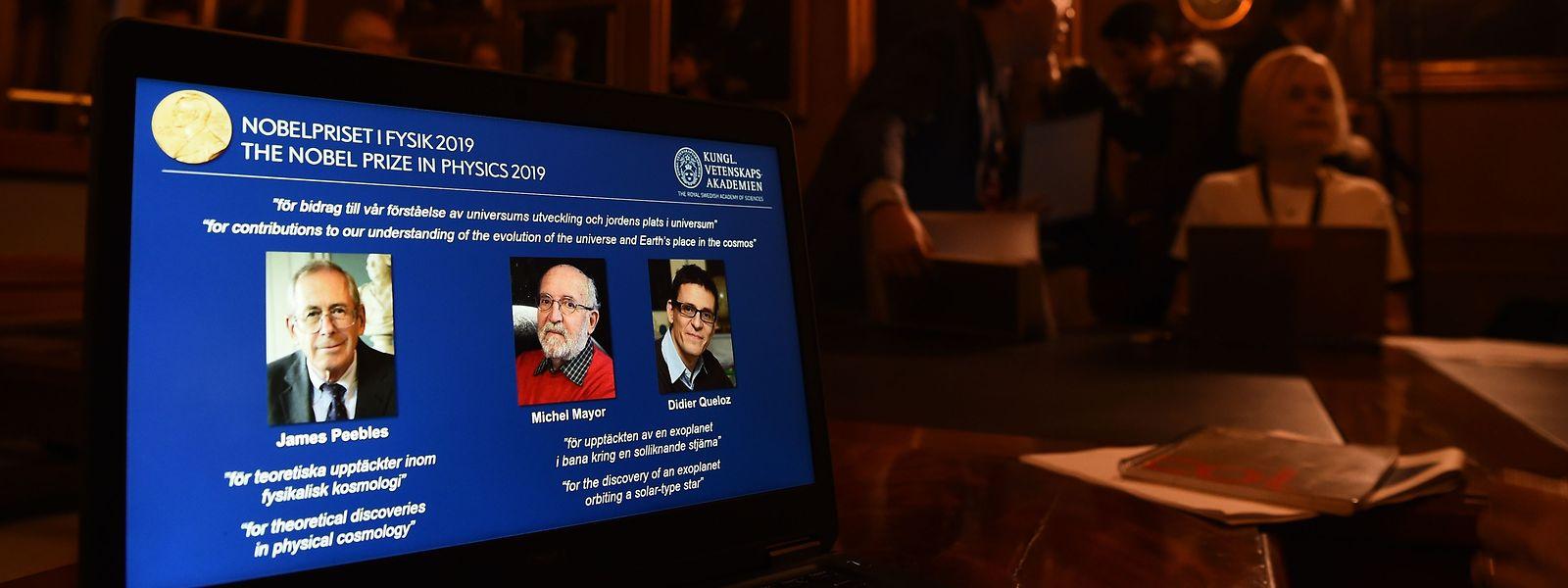 Le portrait des lauréats du Nobel de physique à l'Académie royale suédoise des sciences.
