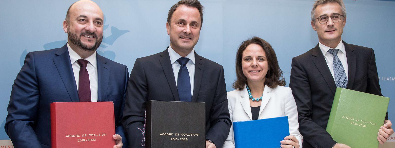 Etienne Schneider (LSAP), Xavier Bettel (DP), Corinne Cahen (DP) et Felix Braz (Verts)