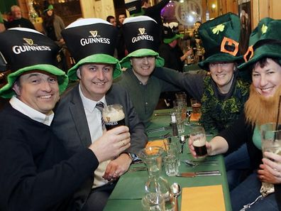 The Guinness hats come out.