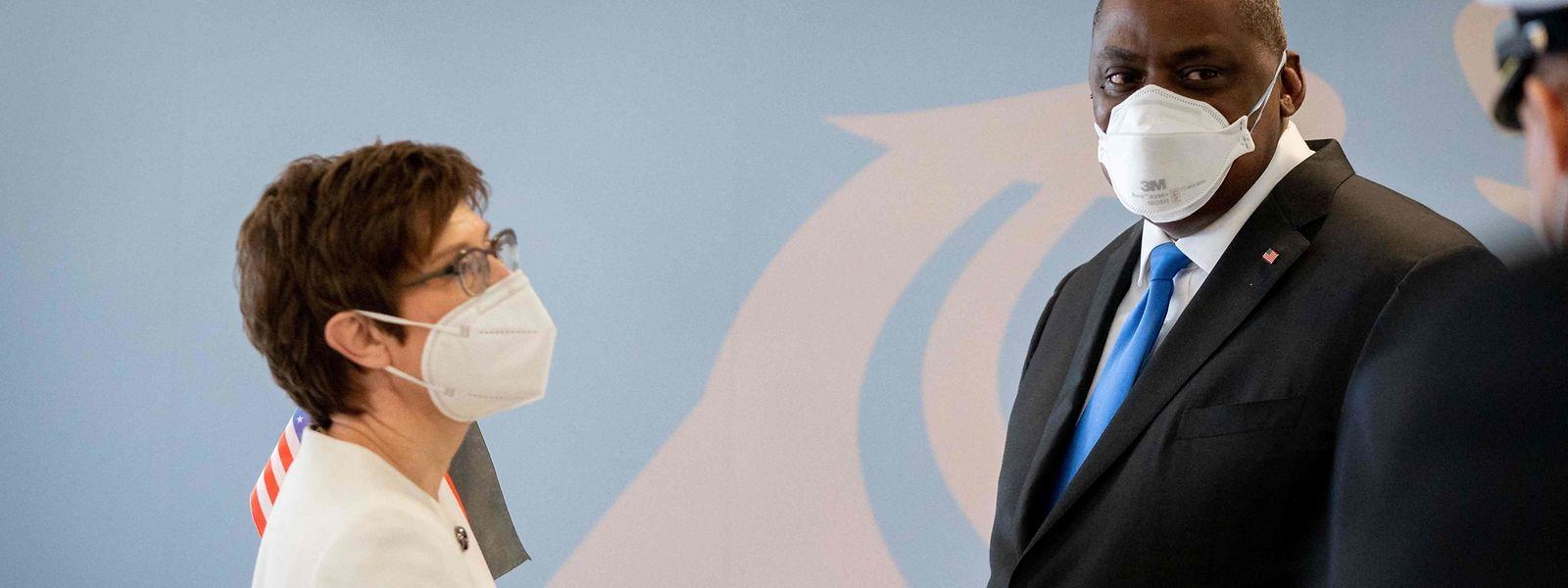 US-Verteidigungsminister Lloyd Austin und seine deutsche Gastgeberin Annegret Kramp-Karrenbauer.