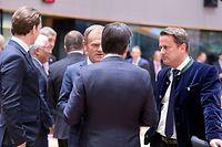 (de g. à dr.) Sebastian Kurz, chancelier de la République d'Autriche ; Donald Tusk, président du Conseil européen ; Giuseppe Conte, président du Conseil des ministres de la République italienne ; Xavier Bettel, Premier ministre, ministre d'État