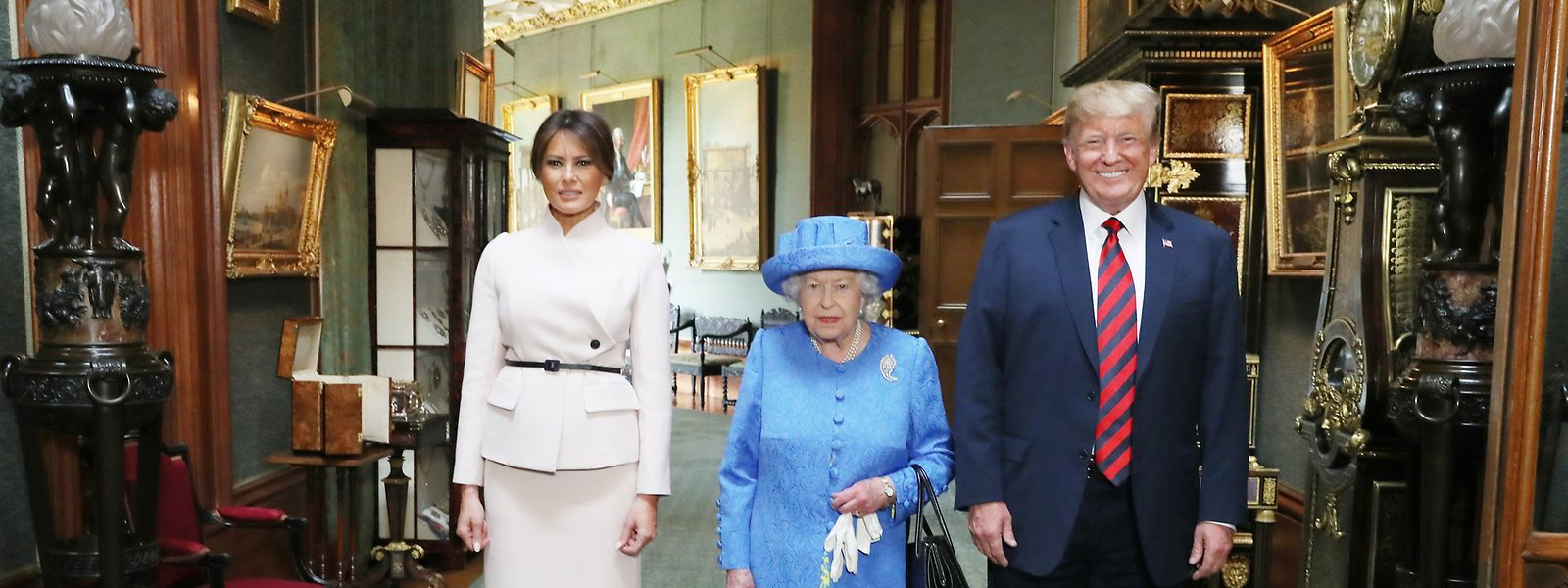 13. Juli 2018: Präsident Trump und seine Frau Melania stehen mit der britischen Königin ElizabethII in Schloss Windsor.