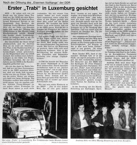 """Der Artikel über den ersten Trabi in Luxemburg, erschienen am 14. November 1989 im """"Luxemburger Wort""""."""