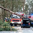 Firefighters and rescue teams stand next to a car on which a tree fell due to heavy storms on January 18, 2018 in Bielefeld, western Germany. Germany halted all long-distance rail traffic for at least a day, while numerous domestic flights were scrapped as hurricane-force winds lashed the country. / AFP PHOTO / dpa / Christian MATHIESEN / Germany OUT