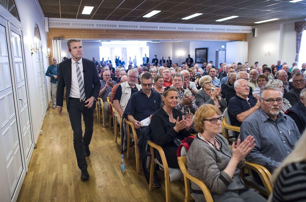 Spitzenkandidat Kristian Thulesen Dahl erscheint zu einer Wahlveranstaltung der rechtspopulistische Dänischen Volkspartei.
