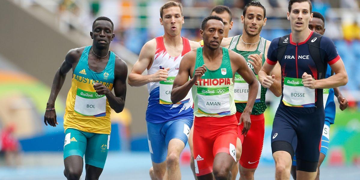Le Luxembourgeois Charles Grethen lors du 800m à Rio le 12 août