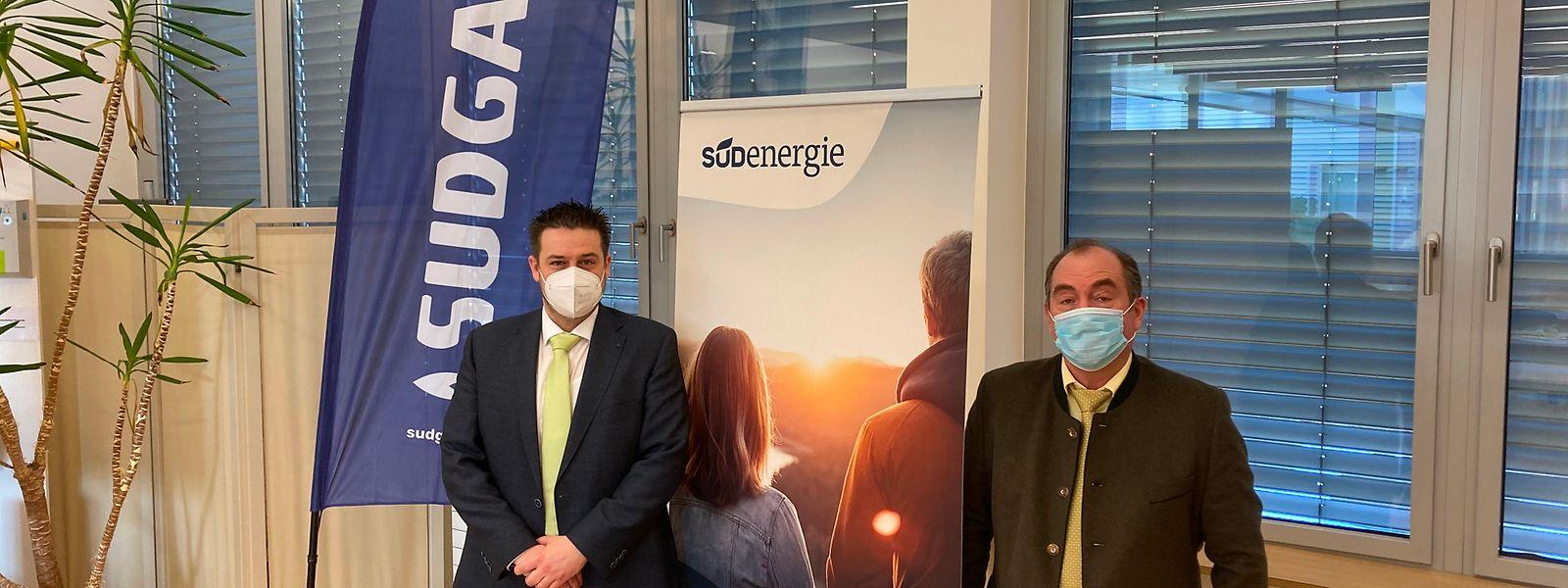 Die im Süden bekannte Marke Sudgaz wird für die Erdgassparte von Südenergie weiterbestehen, so Direktor Alain Fürpass (l.) und Präsident Romain Rosenfeld.