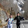 French cyclist Romain Bardet (R) and Swiss cyclist Mathias Frank from the AG2R team run in Vaujany on November 15, 2017 as part of a preparation training. / AFP PHOTO / JEAN-PIERRE CLATOT