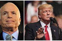 Das Weiße Haus hatte Medienberichten zufolge eine ausführliche Würdigung des verstorbenen Senators John McCain (l.) vorbereitet, doch der Präsident lehnte ab.