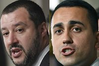 """(COMBO) This combination of files pictures created on May 10, 2018 shows Matteo Salvini (L), leader of the far-right party """"Lega"""" and Five Star Movement (M5S) leader Luigi Di Maio after a meeting with Italian President Sergio Mattarella on April 5, 2018 at the Quirinale palace in Rome.     With coalition negotiations underway between the anti-establishment Five Star Movement and the nationalist League party, Italy could deliver Western Europe it's first deeply populist government. Both parties converge in their rejection of what they deem to be old-style elitist Italian politics but their vastly different stances on other issues means coming to an agreement could be difficult.    / AFP PHOTO / Tiziana FABI AND Alberto PIZZOLI"""