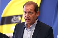 (FILES) In this file photo taken on August 19, 2020 Tour de France director Christian Prudhomme gives a press conference to present sanitary measures over the COVID-19 (novel coronavirus) pandemic put in place for the start of the 107th edition of the Tour De France cycling race in the French Riviera city of Nice. - Tour de France director Prudhomme is positive for Covid-19, the peloton is negative, according to the organisers, AFP reports on September 8, 2020. (Photo by Valery HACHE / AFP)