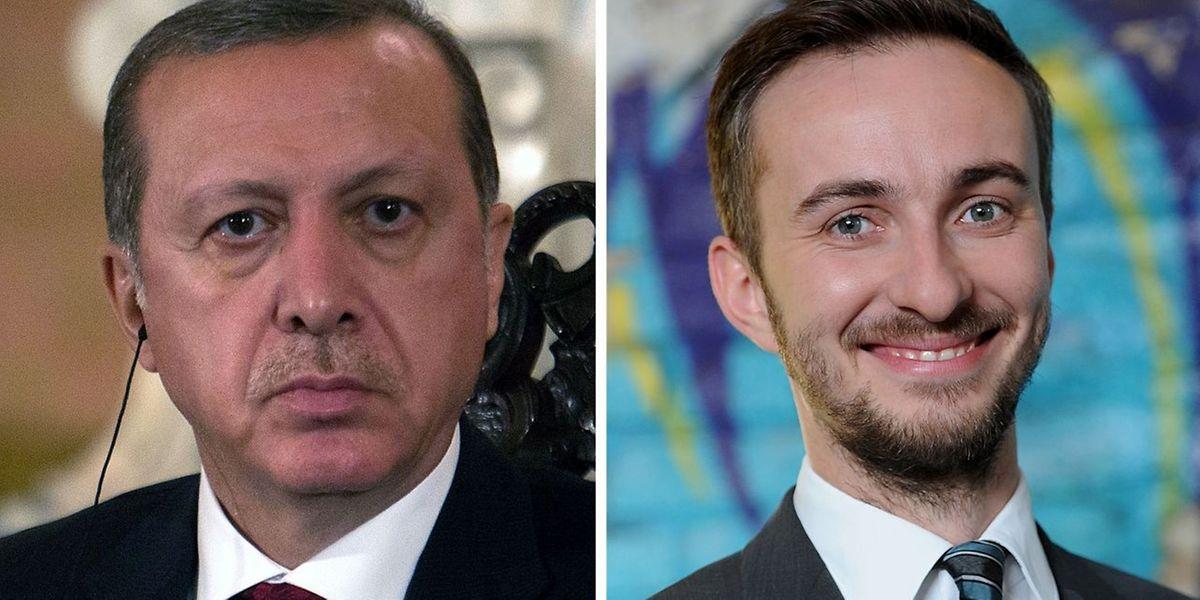 Jan Böhmermann (r.) droht eine Strafe wegen verleumderischer Beleidigung des türkischen Staatspräsidenten Erdogan.