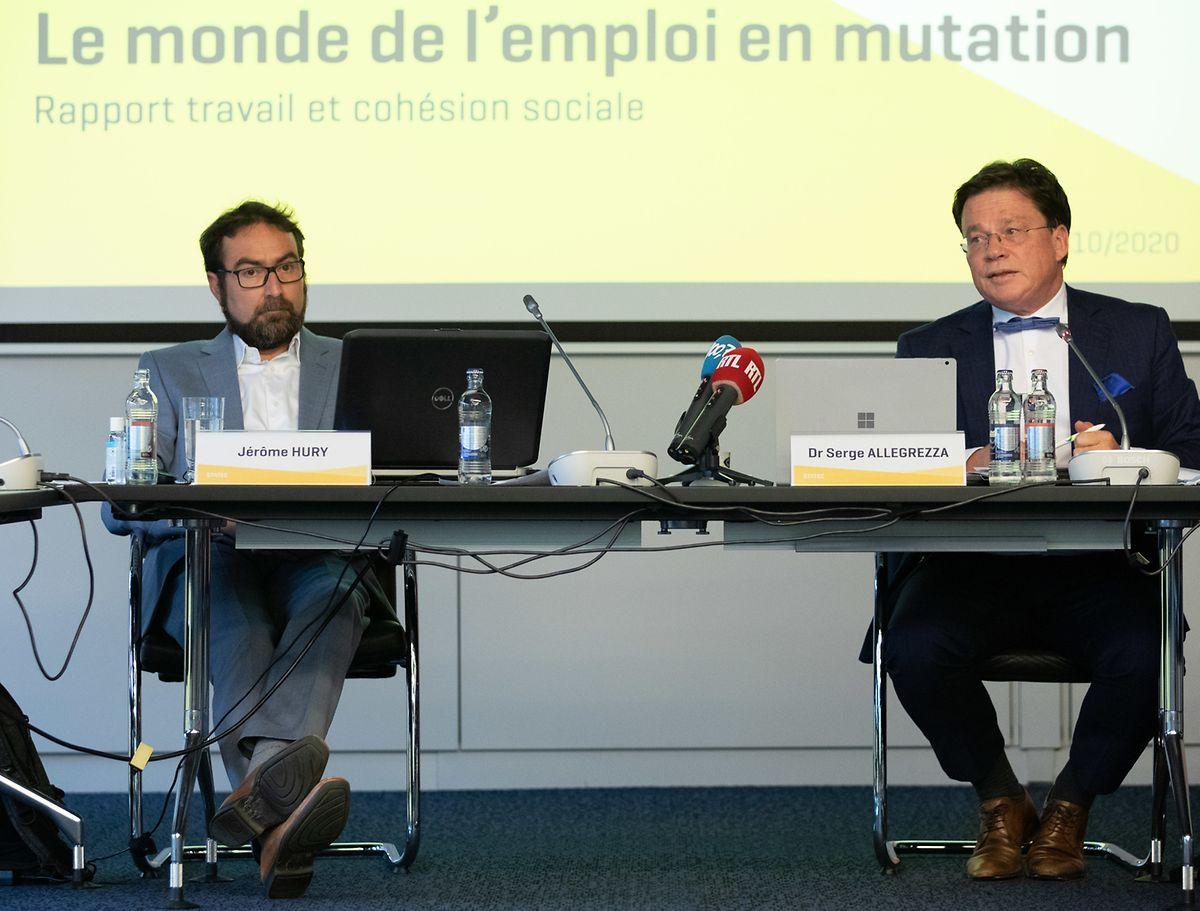 """Stellten den Bericht """"Travail et cohésion sociale"""" vor: Statec-Direktor Serge Allegrezza (r.) und Abteilungsleiter Jérôme Hury."""