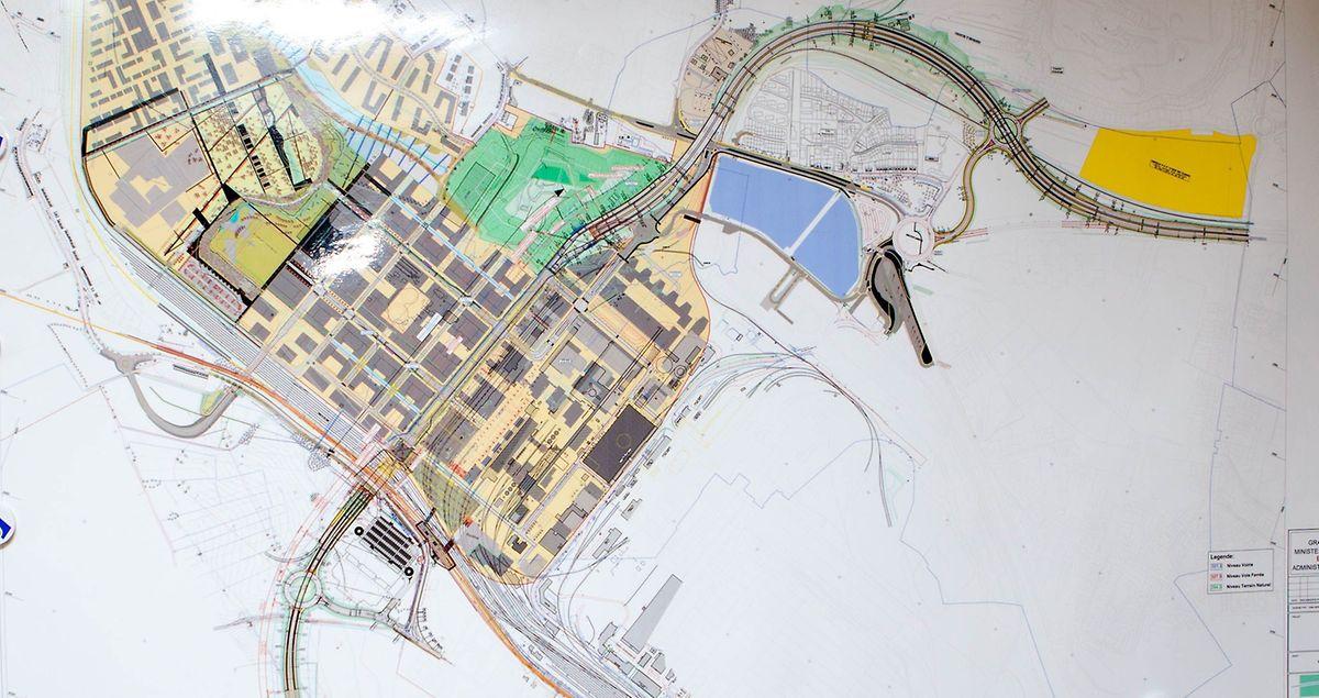 A l'horizon 2019, un nouveau tronçon autoroutier doit relier le tunnel de Belval (à la base de la zone en vert) et faire un large virage pour rejoindre l'A4 à hauteur de la Twinerg (en jaune). Un échangeur autoroutier sera directement relié au rond-point Raemerich. Et l'actuelle fin d'autoroute menant au rond-point Ramerich sera gommée.