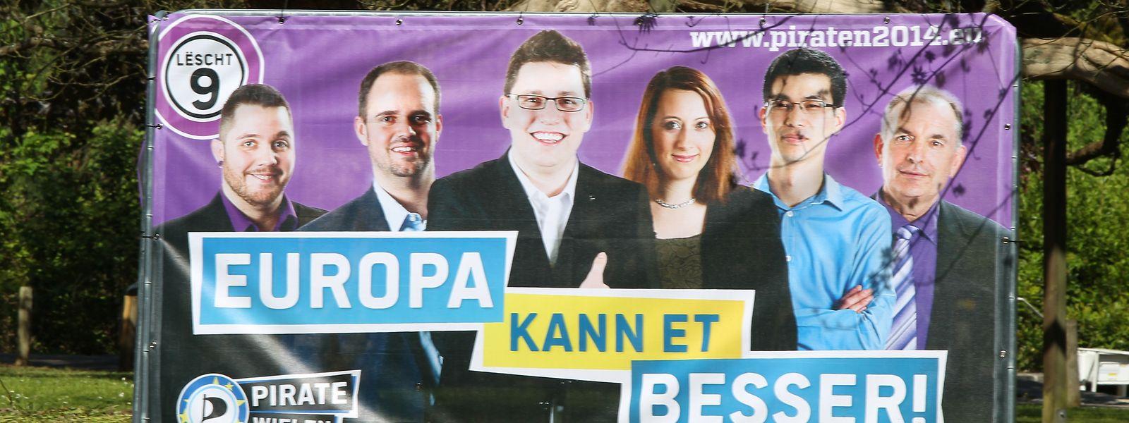 Ein Wahlplakat der Piraten aus dem Jahr 2014.