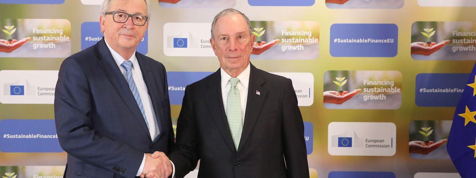 Ein hochrangiges Treffen: Der Präsident der Europäischen Kommission (l.), Jean-Claude Juncker, und Michael Bloomberg, Klimabeauftragter der Vereinten Nationen.