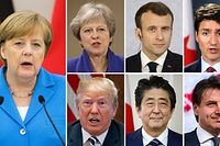 """ARCHIV - Kombo - 06.06.2018, Berlin:Bundeskanzlerin Angela Merkel (l, Archivfoto vom 24.05.2018), Theresa May, Premierministerin vonGroßbritannien (obere Reihe l-r, Archivfoto vom 19.04.2018 ), Emmanuel Macron , Präsident von Frankreich (Archivfoto vom 19.04.2018),  Justin Trudeau, kanadischer Premierminister (Archivfoto vom 31.05.2018), Donald Trump, Präsident der USA (untere Reihe l-r,Archivfoto vom 09.05.2018), Shinzo Abe, Ministerpräsident von Japan (Archivfoto vom 02.05.2018) und Giuseppe Conti, italienischen Ministerpräsidenten (Archivfoto vom 27.03.2018) sind die die Staats- und Regierungschefs der sieben großen westlichen Industriestaaten (G7). (zu dpa """"Sieben mächtige Männer und Frauen"""" vom 07.06.2018) Foto: Michael Kappeler,Kay Nietfeld,PA/Wire,dpa,Canadian Press,AP,EPA POOL/AP +++ dpa-Bildfunk +++"""